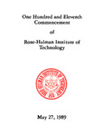 1989 Rose-Hulman Institute of Technology : One-Hundred and Eleventh Commencement