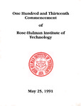 1991 Rose-Hulman Institute of Technology : One-Hundred and Thirteenth Commencement