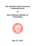 1992 Rose-Hulman Institute of Technology : One-Hundred and Fourteenth Commencement