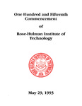 1993 Rose-Hulman Institute of Technology : One-Hundred and Fifteenth Commencement